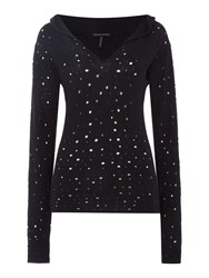 Sarah Pacini Fitted Sweater With Hood Black