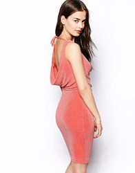 Jessica Wright Lucy Cowl Back Dress In Glitter Fabric Coral Pink