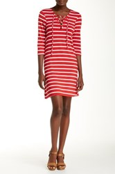 Christian Siriano New York Meghan Lace Up Nautical Stripe Short Dress Red