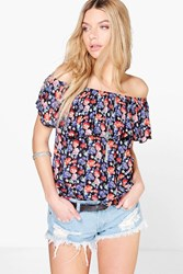 Boohoo Floral Print Off The Shoulder Top Multi