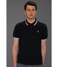 Slim Fit Twin Tipped Fred Perry Polo Navy White White Men's Short Sleeve Knit