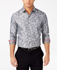 Tasso Elba Men's Classic Fit Printed Shirt Only At Macy's Shade Grey Combo