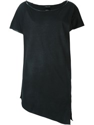 Avant Toi Asymmetric Boat Neck T Shirt Black