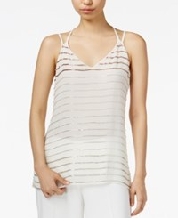 Bar Iii Bead Striped Double Strap Top Only At Macy's Egret Combo