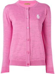 Peter Jensen Embroidered Logo Cardigan Pink And Purple