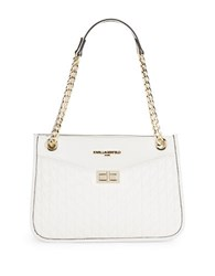 Karl Lagerfeld Quilted Leather Shoulder Bag White