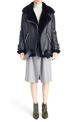Women's Acne Studios 'Velocite' Oversized Genuine Shearling Moto Jacket