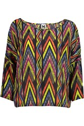 M Missoni Printed Silk Chiffon Top Purple