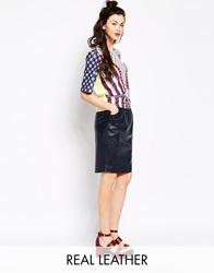 Emma Cook Leatherette Skirt Navy