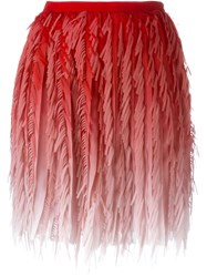 Marco De Vincenzo Pleated Fringed Mini Skirt Red
