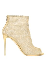 Dolce And Gabbana 105Mm Lurex Macrame Lace Peep Toe Boots