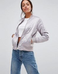 New Look Diamond Quilted Bomber Mid Grey