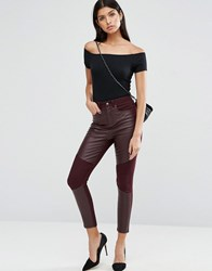 Asos Skinny Trousers With Coated Front Panels Oxblood Multi