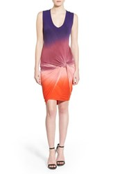 Young Fabulous And Broke Women's Young Fabulous And Broke 'Fleur' Twist Front Body Con Dress Purple Ombre