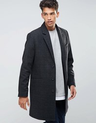 Asos Wool Mix Overcoat In Charcoal Check Charcoal Grey