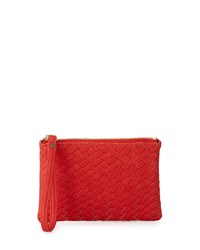 Neiman Marcus Woven Faux Leather Wristlet Bag Poppy
