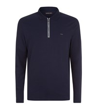 Michael Kors Long Sleeve Zip Neck Polo Top Male Navy