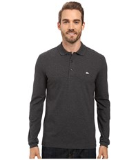 Lacoste Long Sleeve Stretch Grey Croc Pique Polo Dark Grey Jaspe Chine Men's Clothing Gray
