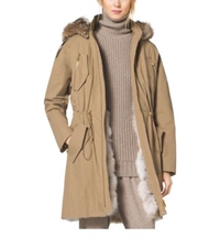 Michael Kors Crinkled Cotton Fur Lined Parka Fawn