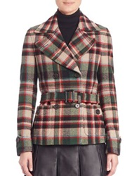 Polo Ralph Lauren Plaid Belted Peacoat Green Red