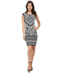 Hale Bob Urban Explorer Knit Dress Black White Women's Dress