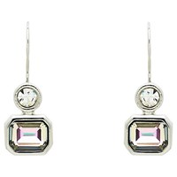 Monet Vitrail Crystal Drop Earrings Silver
