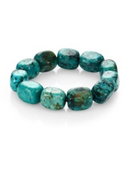 Nest Teal Agate Square Beaded Stretch Bracelet Turquoise