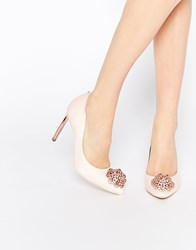 Ted Baker Peetch Tie The Knot Bridal Embellished Leather Court Shoes Pink