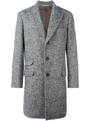 Brunello Cucinelli Herringbone Coat Grey