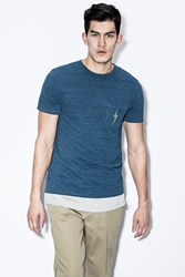 Lightning Bolt Directoire Blue Og Triblend Overdyed Pocket T Shirt