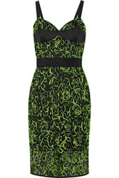 Milly Jersey Trimmed Embroidered Wool Blend Tulle Dress Green