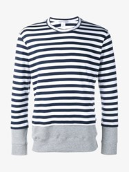 Comme Des Garcons Striped Long Sleeved T Shirt Navy White Grey Champagne