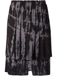Raquel Allegra Abstract Print Layered Skirt Black