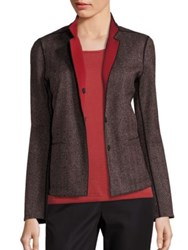 Lafayette 148 New York Herringbone Randall Blazer Black Red Multi