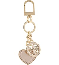 Tory Burch Logo And Heart Keyring Rose Gold