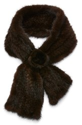 Women's Dena Genuine Mink Fur Scarf Brown