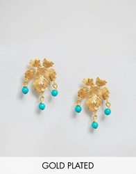 Ottoman Hands Small Leaf Earrings Gold