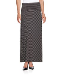 Lord And Taylor Petite Striped Maxi Skirt Black