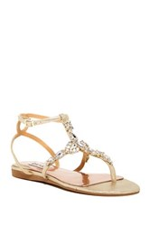 Badgley Mischka Melinda Ii Jeweled Thong Sandal Metallic