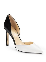 Ivanka Trump Colorblock Leather D'orsay Pumps White Black