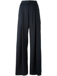 A.F.Vandevorst Pleated Long Palazzo Pants Blue