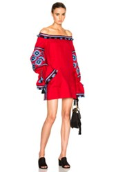 March 11 Off Shoulder Tunic Top In Red Geometric Print Red Geometric Print