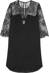 Mason By Michelle Mason Lace Paneled Washed Silk Mini Dress