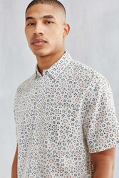 Cpo Batik Print Short Sleeve Button Down Shirt White