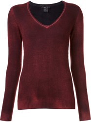 Avant Toi Long Sleeved V Neck Jumper Red