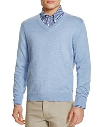 Brooks Brothers Supima Cotton V Neck Sweater Blue Heather