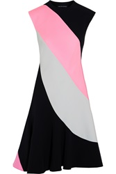 Jonathan Saunders Claire Color Block Wool And Crepe Dress