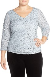 Plus Size Women's Adrianna Papell V Neck Sequin Mesh Top Blue Heather