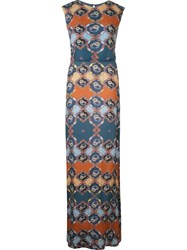 Emannuelle Junqueira Abstract Print Crew Neck Gown Multicolour