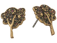 Marc Jacobs Charms Pave Tree Studs Earrings Black Diamond Antique Gold